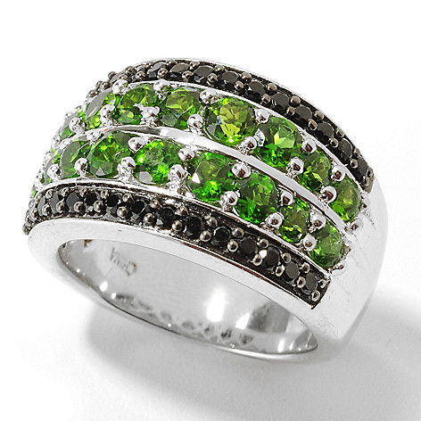 132-041 - Gem Treasures Sterling Silver 2.53ctw Spinel & Chrome Diopside Wide Band Ring