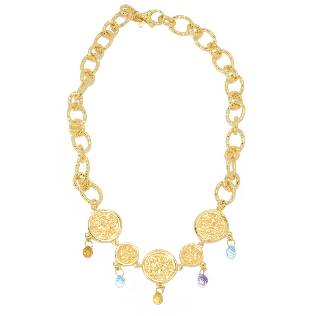 "132-055 - Toscana Italiana 18K Gold Embraced™ 18"" Briolette Cut Multi Gemstone Five-Coin Necklace"