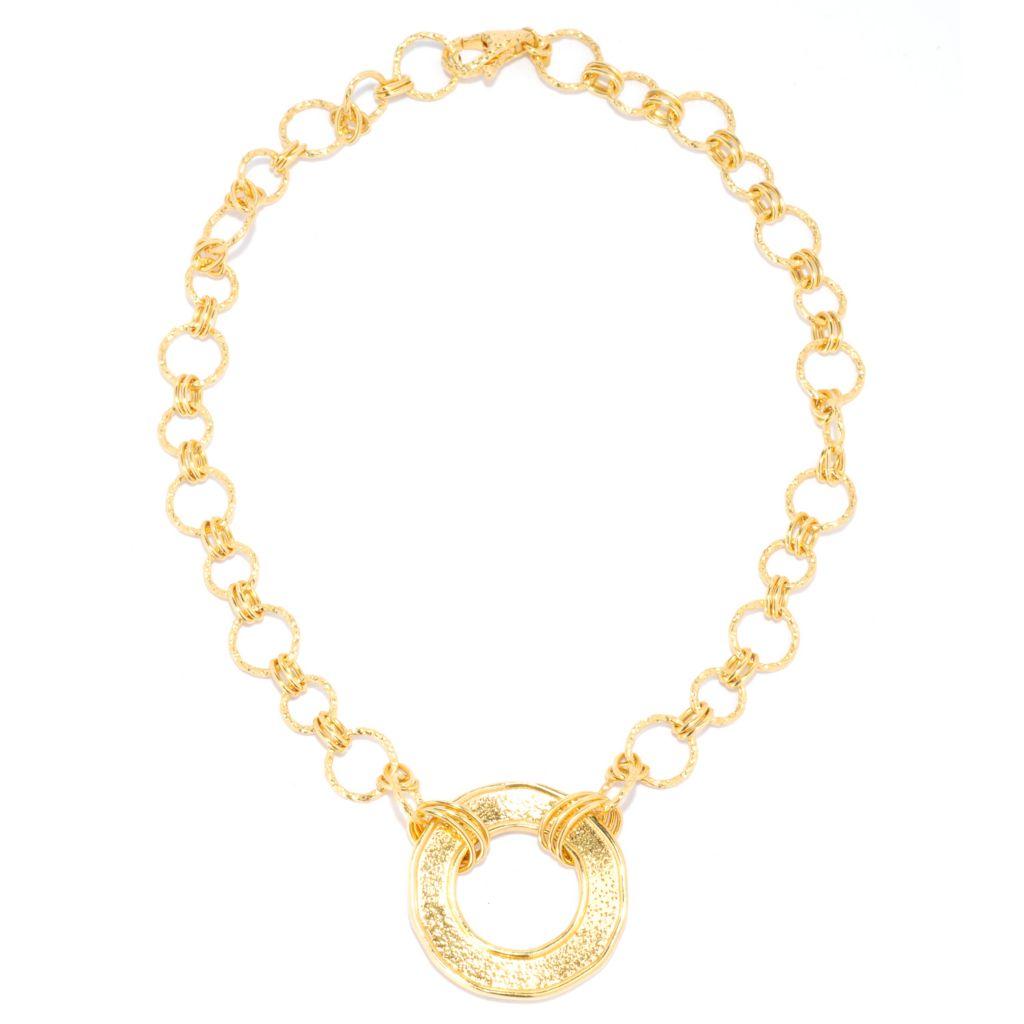 "132-056 - Toscana Italiana 18K Gold Embraced™ 18"" Hammered Disk Rolo Link Necklace"