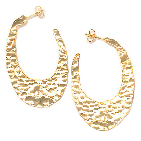 132-058 - Toscana Italiana 18K Gold Embraced™ 1.75'' Hammered Elongated Oval Hoop Earrings