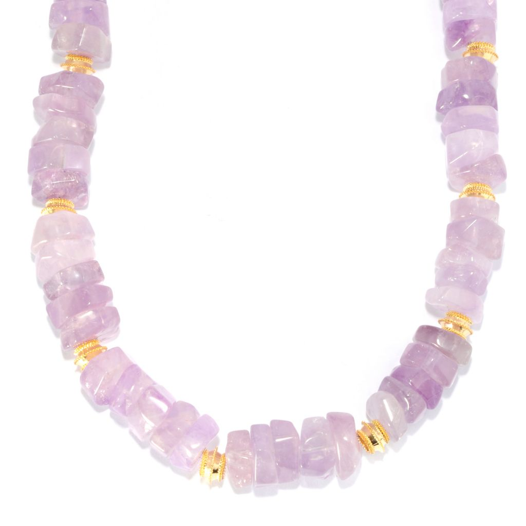 "132-059 - Toscana Italiana 18K Gold Embraced™ 20"" 14 x 5mm Amethyst Bead Station Necklace"