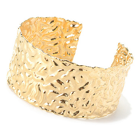 132-060 - Toscana Italiana 18K Gold Embraced™ 7'' Polished & Hammered Cuff Bracelet