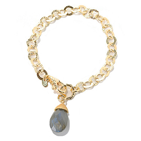 132-062 - Toscana Italiana Gold Embraced™ 8'' Hammered Circle Link Bracelet w/ Labradorite Drop