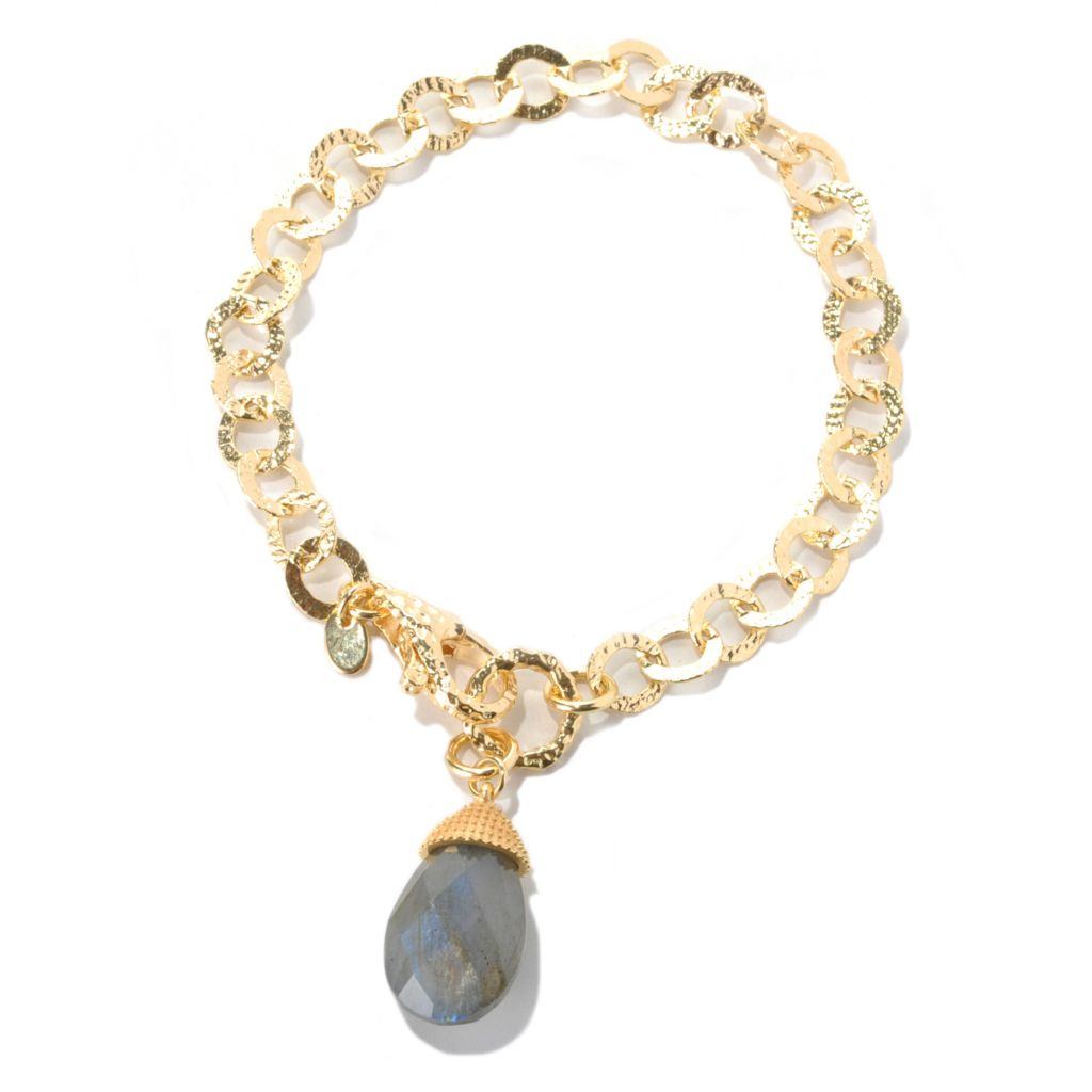 "132-062 - Toscana Italiana Gold Embraced™ 8"" Hammered Circle Link Bracelet w/ Labradorite Drop"