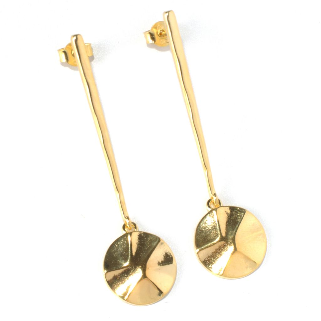 "132-065 - Toscana Italiana 18K Gold Embraced™ 2.25"" Polished Elongated Drop Earrings"