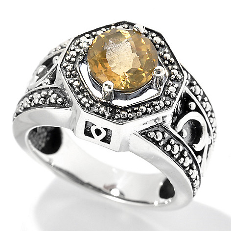 132-068 - Gem Insider Oxidized Sterling Silver 1.00ctw Citrine Beaded Halo Ring