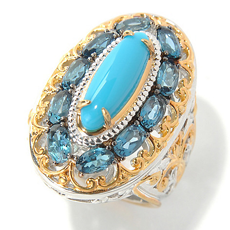 132-076 - Gems en Vogue II 15 x 5mm Sleeping Beauty Turquoise & London Blue Topaz Elongated Ring