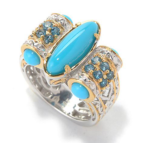 132-078 - Gems en Vogue II 15 x 5mm Sleeping Beauty Turquoise & London Blue Topaz Side Barrel Ring