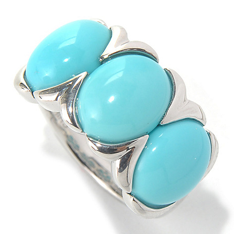 132-083 - Gem Insider Sterling Silver 10 x 8mm Sleeping Beauty Turquoise Three-Stone Ring