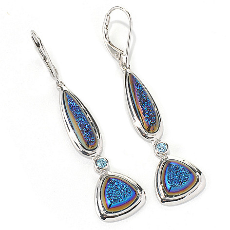 132-085 - Gem Insider™ Sterling Silver 2.25'' Blue Drusy & Swiss Blue Topaz Drop Earrings