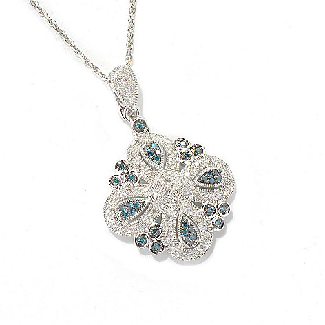 132-087 - Diamond Treasures Sterling Silver 0.33ctw Blue & White Diamond Enhancer w/ Chain