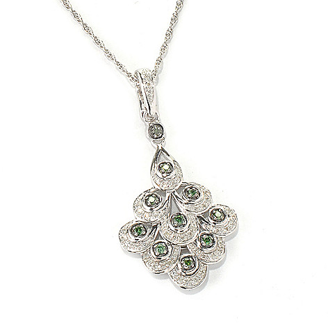 132-088 - Diamond Treasures Sterling Silver 0.33ctw Green & White Diamond Tiered Enhancer