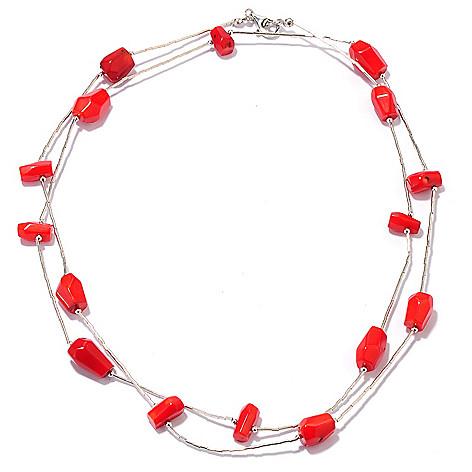 132-099 - Gem Insider Sterling Silver 36'' Freeform Gemstone Bead Multi Strand Necklace