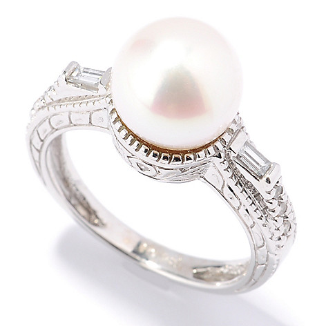 132-102 - The Vault from Gems en Vogue II 14K Gold 10-9.5mm Cultured Pearl & Diamond Ring