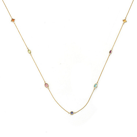 132-103 - The Vault from Gems en Vogue II 10K Gold 36'' Multi Gemstone Station Necklace
