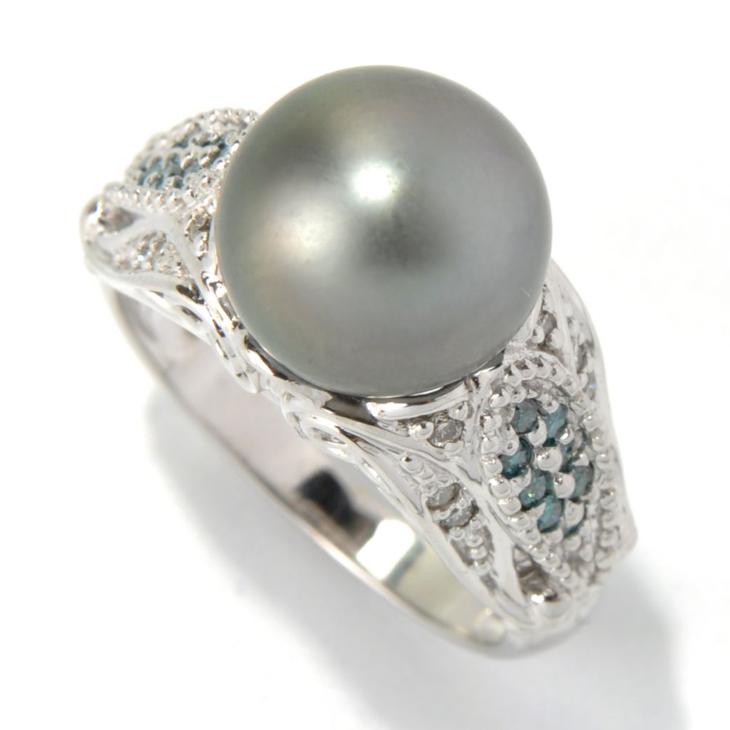 132-109 - The Vault from Gems en Vogue II 14K Gold 10-10.5mm Cultured Pearl & Diamond Ring
