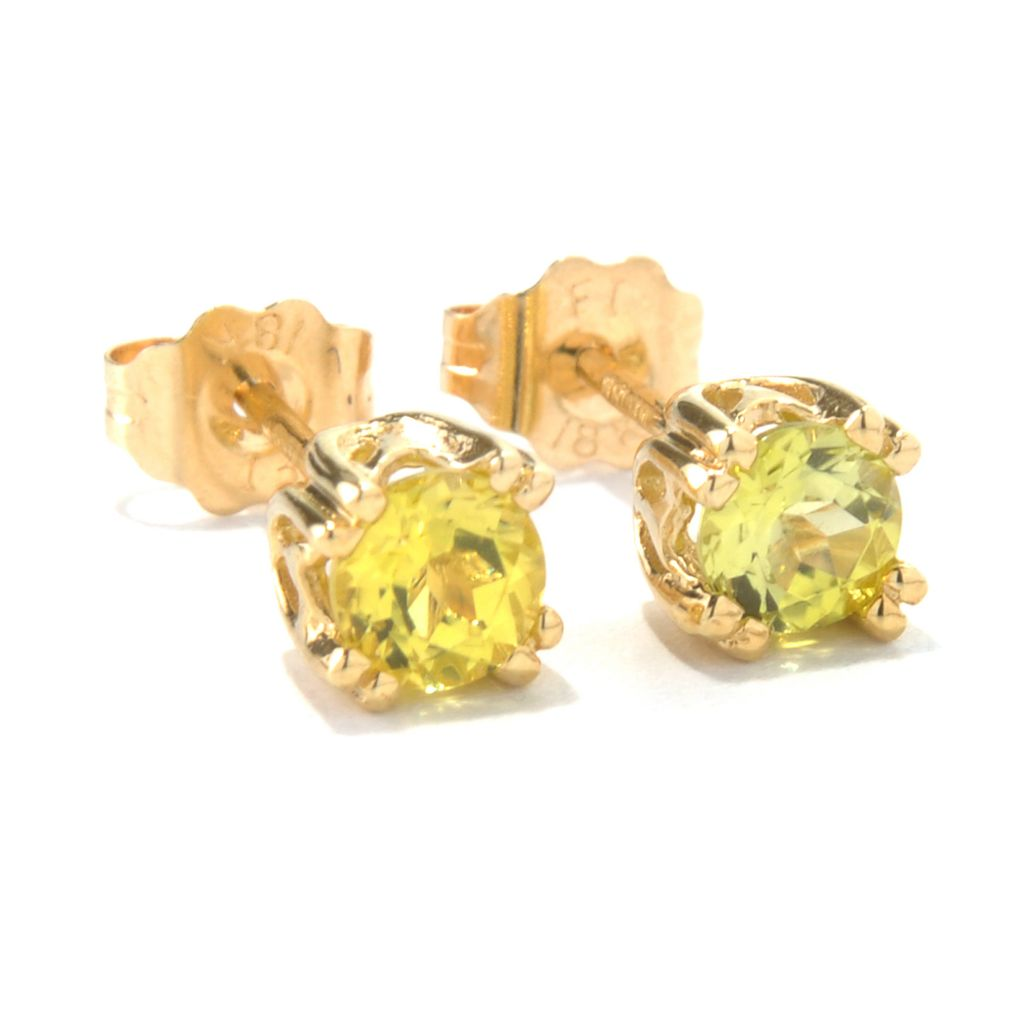 132-110 - The Vault from Gems en Vogue II 18K Gold 0.50ctw Canary Tourmaline Stud Earrings