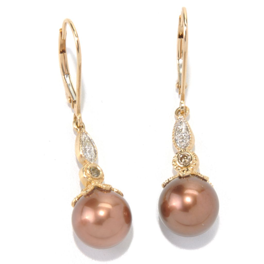 132-112 - The Vault from Gems en Vogue II 14K Gold 9mm Mocha Cultured Pearl & Diamond Earrings