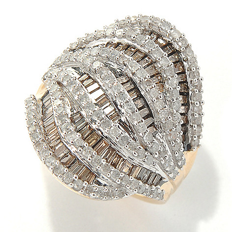 132-123 - Diamond Treasures 14K Gold 2.20ctw Baguette & Round Diamond Bi-Level Wave Ring