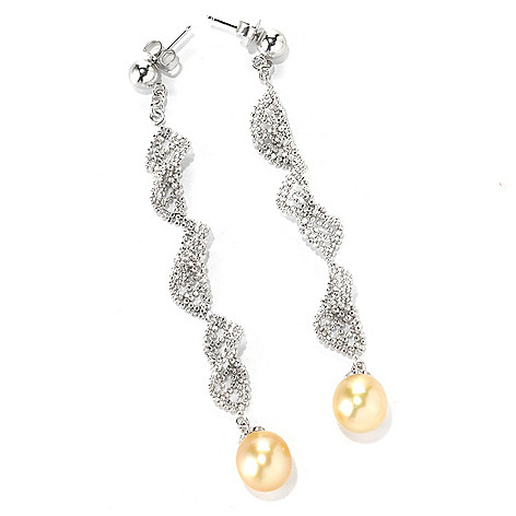 132-125 - Sterling Silver 3'' 8-9mm Golden South Sea Cultured Pearl Lace Drop Earrings