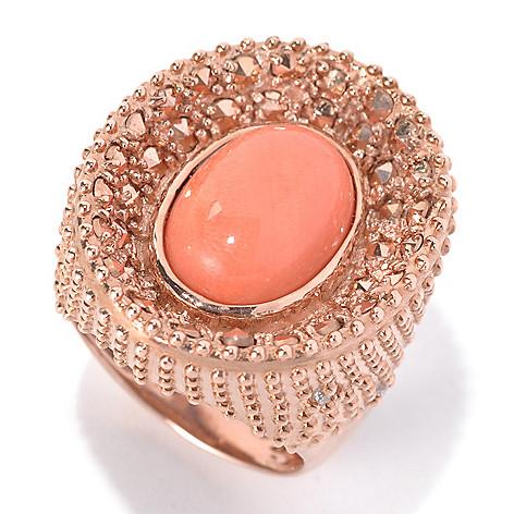 132-131 - Dallas Prince Designs Bamboo Coral & White Topaz Ring Made w/ Swarovski® Marcasite