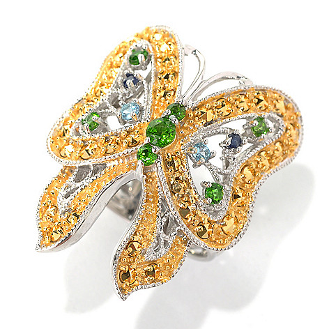 132-134 - Dallas Prince Designs Multi Gemstone Butterfly Ring Made w/ Swarovski® Marcasite