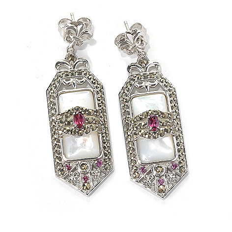 132-136 - Dallas Prince Designs Sterling Silver 2'' Multi Gem Earrings Made w/ Swarovski® Marcasite