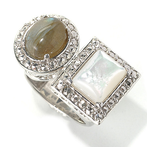 132-142 - Dallas Prince Designs Sterling Silver Framed Wrap Ring Made w/ Swarovski® Marcasite