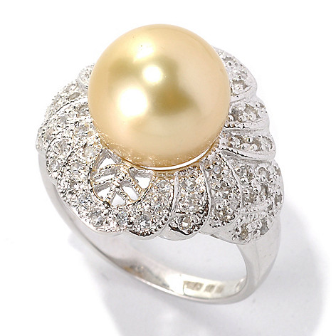 132-143 - Sterling Silver 10-11mm Golden South Sea Cultured Pearl & White Topaz Ring