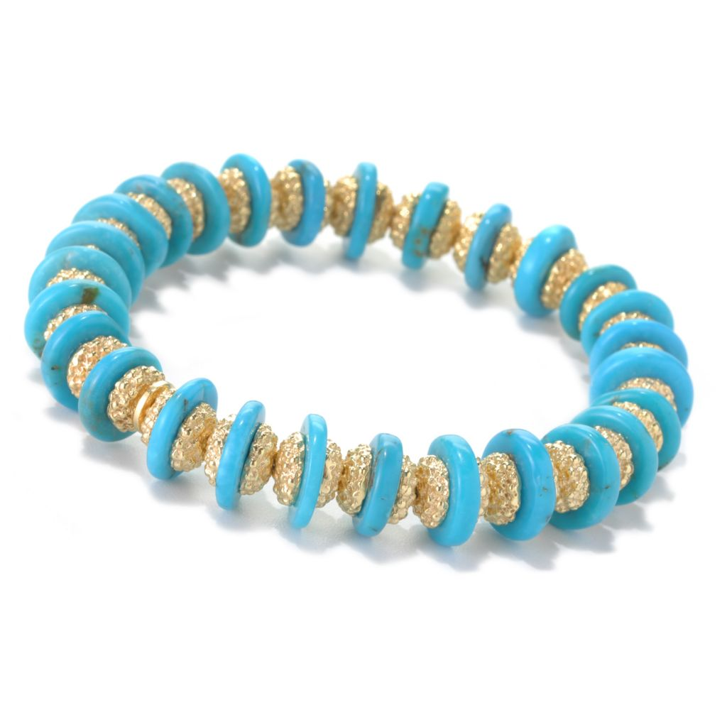"132-150 - Toscana Italiana 18K Gold Embraced™ 6.75"" Turquoise & Beaded Station Stretch Bracelet"
