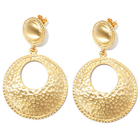 132-153 - Toscana Italiana 18K Gold Embraced™ 2'' Hammered Round Cut-out Drop Earrings