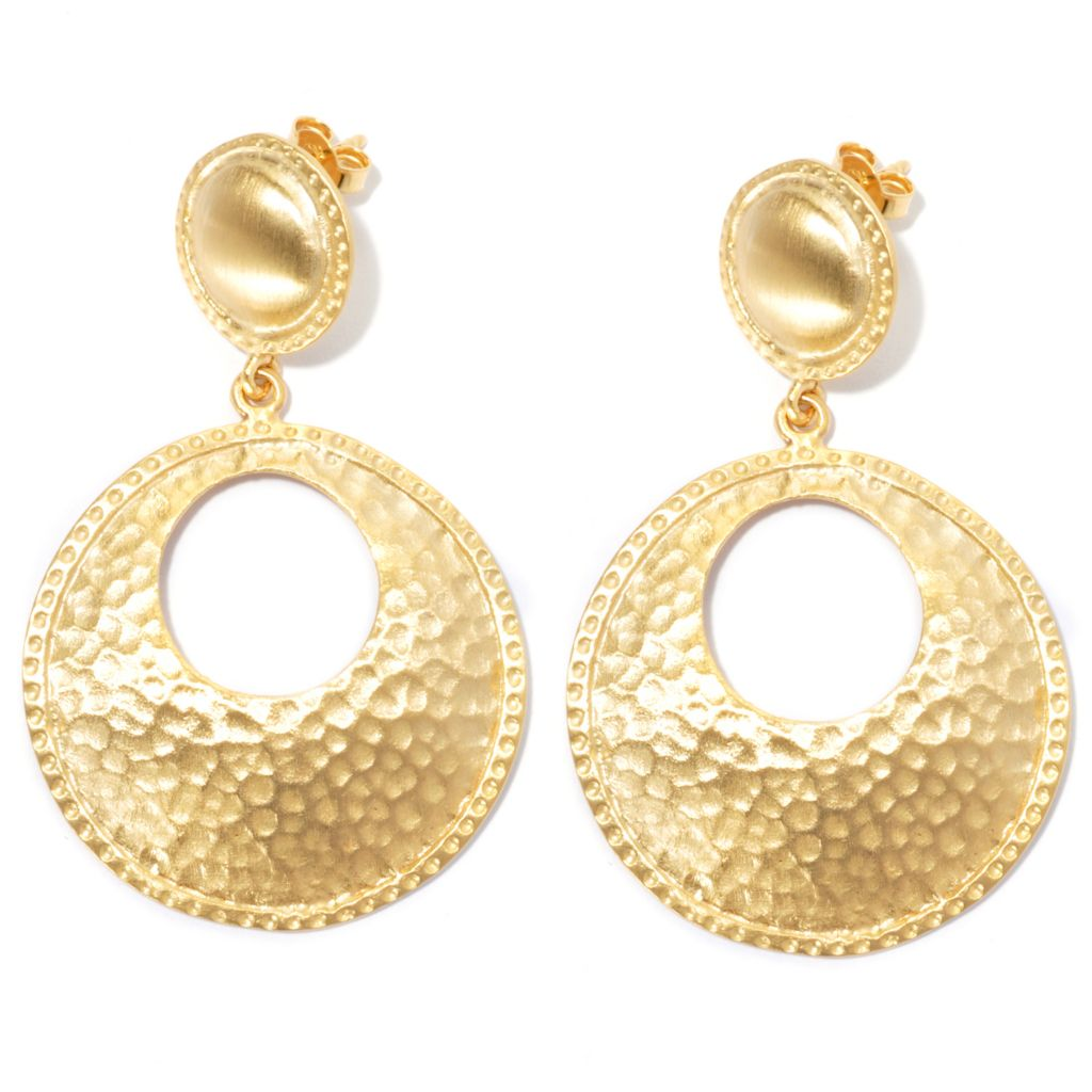 "132-153 - Toscana Italiana 18K Gold Embraced™ 2"" Hammered Round Cut-out Drop Earrings"