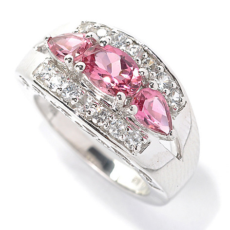 132-156 - Gem Treasures Sterling Silver 2.40ctw Pink Tourmaline & White Zircon Split Ring