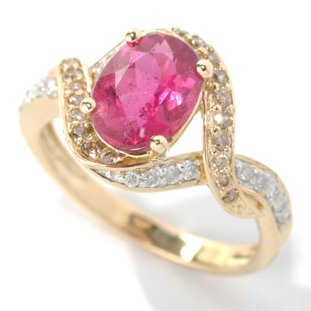 132-163 - Gem Treasures 14K Gold 2.07ctw Rubellite & Multi Color Diamond Interlace Ring