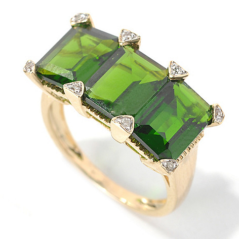 132-164 - Gem Treasures 14K Gold 6.23ctw Emerald Cut Chrome Diopside & Diamond Three-Stone Ring
