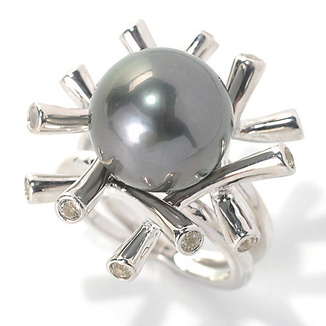 132-174 - Sterling Silver 13-14mm Black Tahitian Cultured Pearl & White Topaz Bamboo Ring