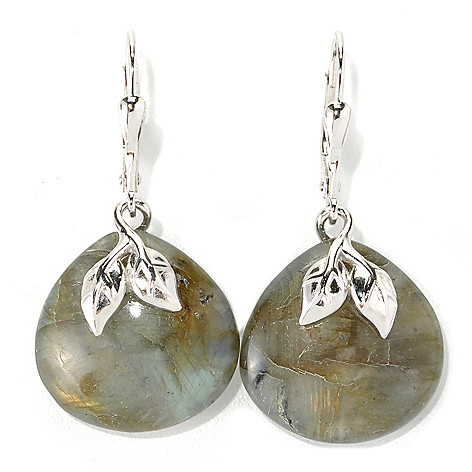 132-195 - Gem Insider™ Sterling Silver 1.50'' 18mm Labradorite Leaf Leverback Earrings
