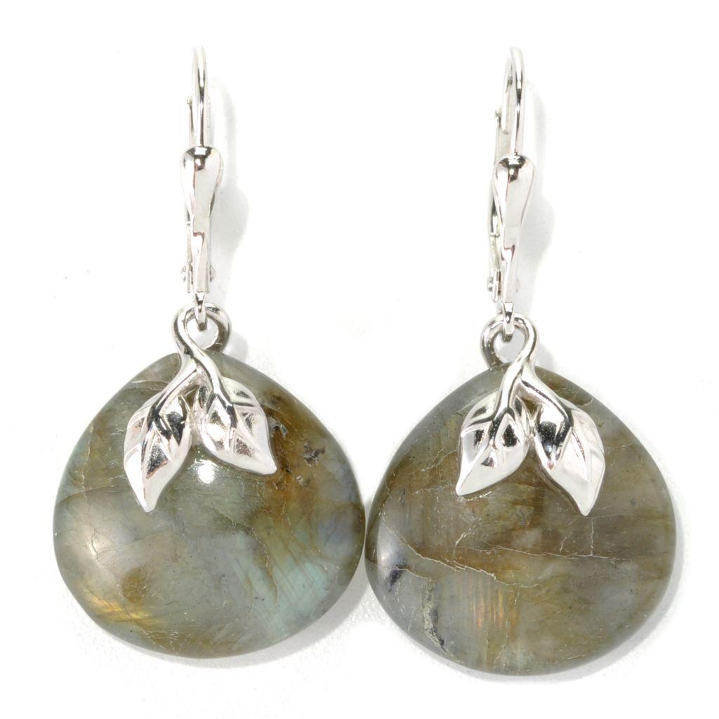 "132-195 - Gem Insider Sterling Silver 1.50"" 18mm Labradorite Leaf Leverback Earrings"