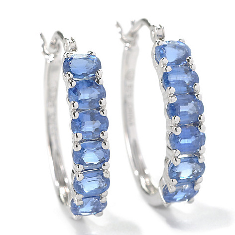 132-196 - Gem Insider Sterling Silver 2.40ctw Blue Kyanite Hoop Earrings