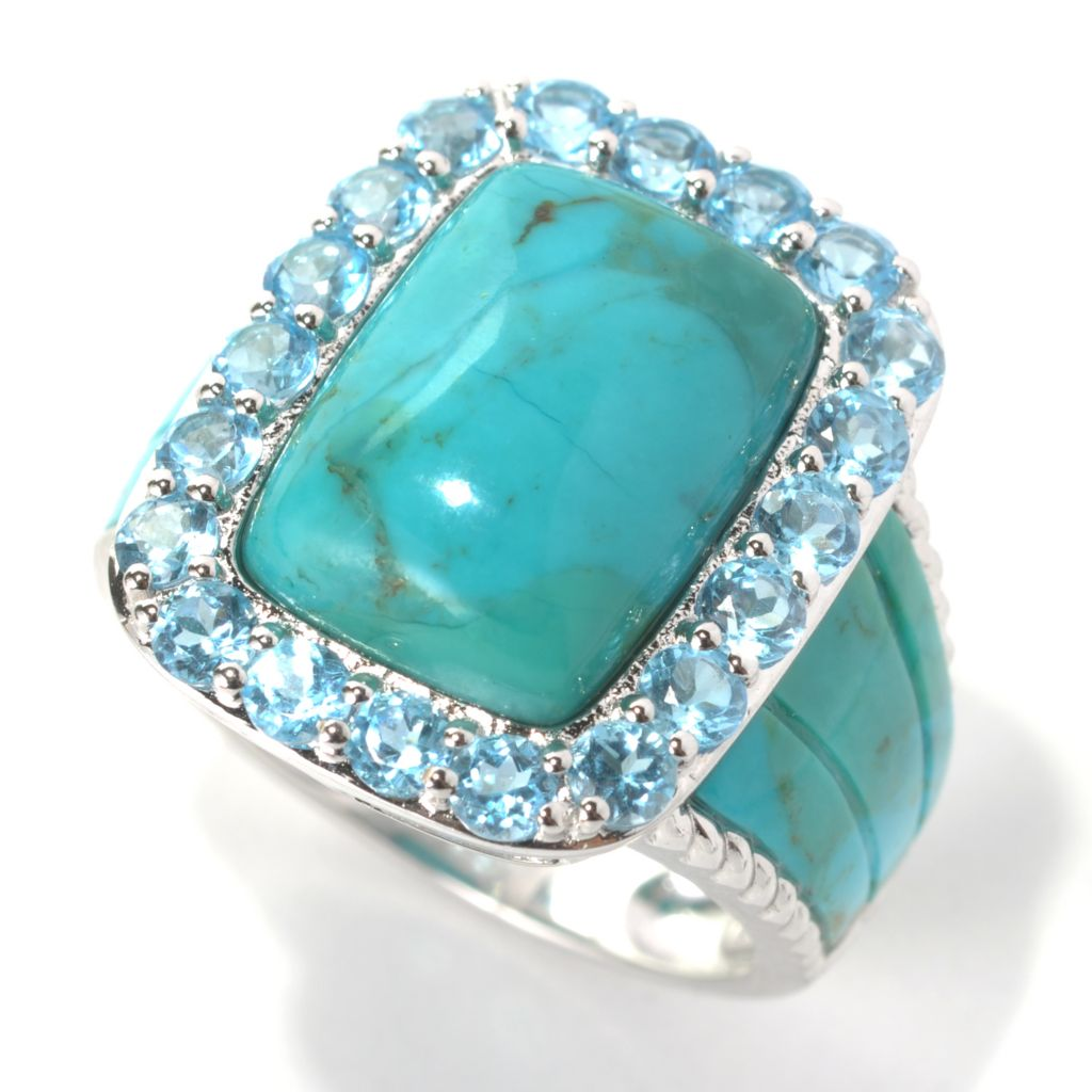 132-199 - Gem Insider Sterling Silver 14 x 10mm Turquoise & Swiss Blue Topaz Ring