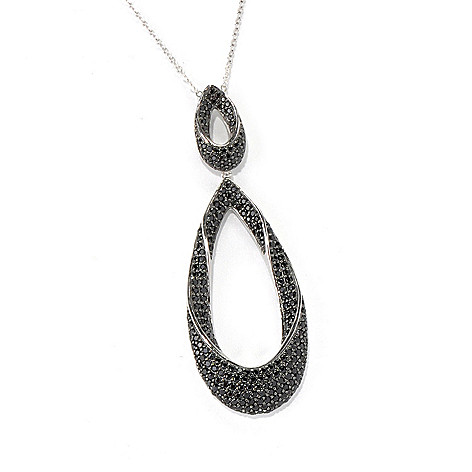 132-204 - Gem Treasures Sterling Silver 1.15ctw Spinel Double Teardrop Pendant w/ Chain