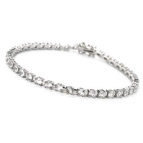 132-205 - Gem Treasures Sterling Silver 8'' 5.88ctw White Zircon Tennis Bracelet