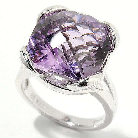 132-206 - Gem Insider Sterling Silver 10.00ctw Cushion Cut Amethyst Solitaire Ring