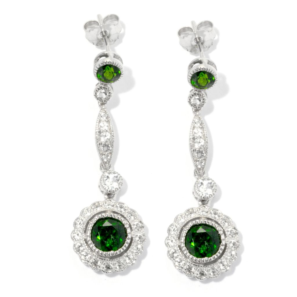 "132-208 - NYC II 3.40ctw Chrome Diopside & White Topaz Elongated 1.5"" Drop Earrings"