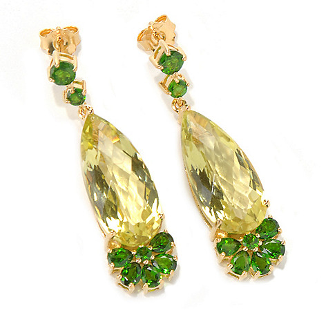 132-210 - NYC II™ 1.5'' Elongated Pear Shaped Gemstone Drop Earrings