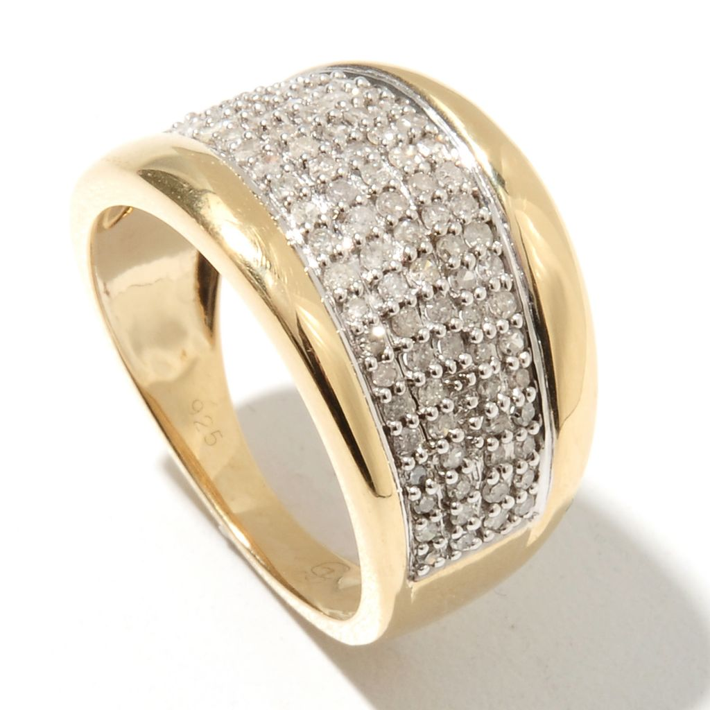 132-223 - Diamond Treasures 0.50ctw Round Cut Diamond Wave Wide Band Ring