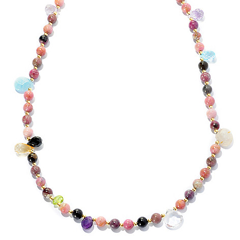 132-224 - Gems of Distinction 56'' Multi Color Tourmaline & Gemstone Beaded Station Necklace