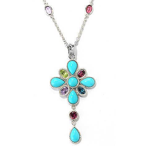 132-237 - Gem Insider® Sterling Silver 9 x 6mm Sleeping Beauty Turquoise & Multi Gem Pendant