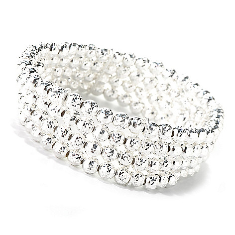 132-240 - SempreSilver® 6.5'' Beaded Diamond Cut Four-Strand Stretch Bracelet