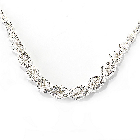 132-241 - SempreSilver® 18'' Polished & Twisted Rope Graduated Chain Necklace